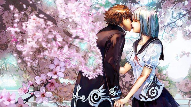 安卓动漫 卡通 插画 手绘 浪漫 爱情 接吻手机壁纸