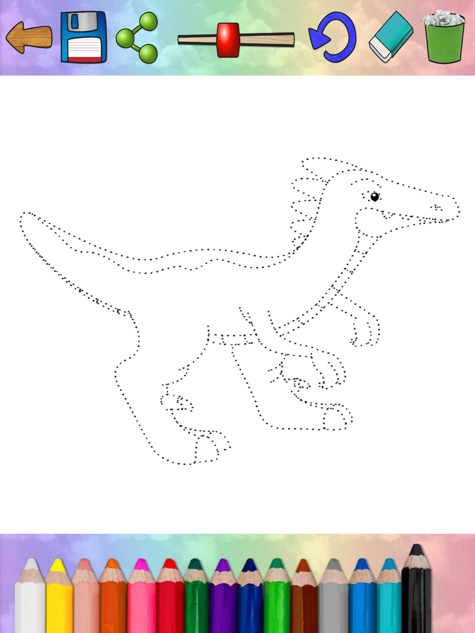 儿童画画游戏:恐龙涂色