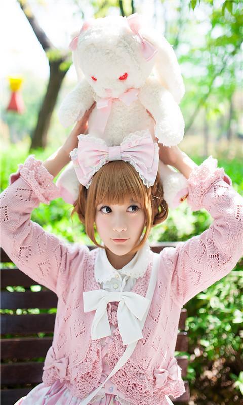 粉红小清新可爱女孩动态壁纸